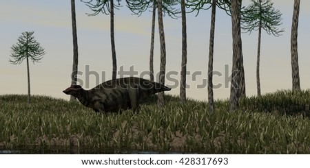 3d illustration of the shuangmiaosaurus walking on grass terrain - stock photo