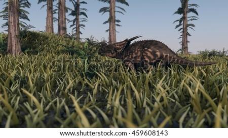 3d illustration of the walking einiosaurus among tempskya trees - stock photo