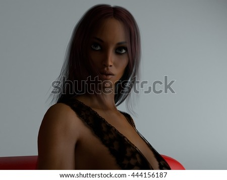 3d illustration of the young dark skin woman portrait - stock photo
