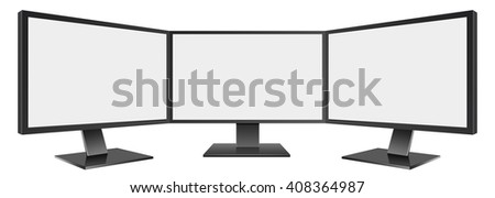 3D Illustration of Three Computer monitor isolated on white - stock photo