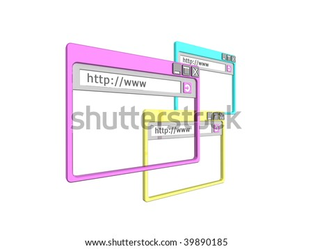 3d Illustration of three internet browser windows, isolated on a white background. - stock photo