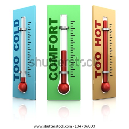 3d illustration of three thermometers over white background - stock photo