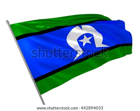 3d illustration of Torres Strait Islanders flag waving in the wind / Australian flags - stock photo