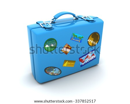 3d illustration of travel case with labels - stock photo