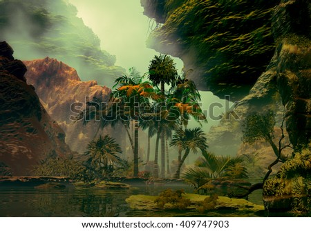 3D Illustration of tropical landscape where it is observed large rocks, palm trees, vegetation and a small lake with a cloudy sky - stock photo