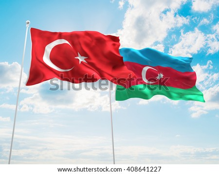 3D illustration of Turkey & Azerbaijan Flags are waving in the sky - stock photo