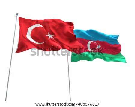 3D illustration of Turkey & Azerbaijan Flags are waving on the isolated white background - stock photo