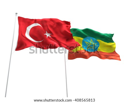 3D illustration of Turkey & Ethiopia Flags are waving on the isolated white background - stock photo