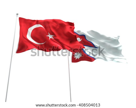 3D illustration of Turkey & Nepal Flags are waving on the isolated white background - stock photo