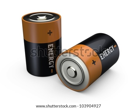 3d illustration of two batteries with 'energy' text on it - stock photo