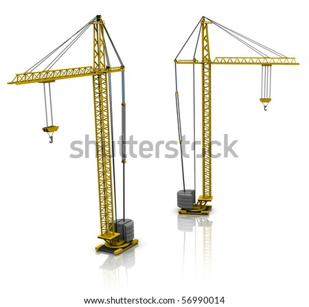 3d illustration of two building cranes over white background - stock photo