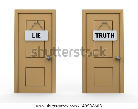 3d illustration of two doors with lie and truth sign board - stock photo
