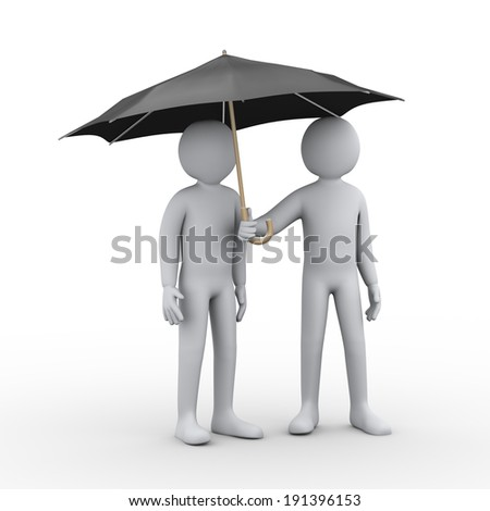 3d illustration of two person under black umbrella. 3d rendering of man people character. - stock photo