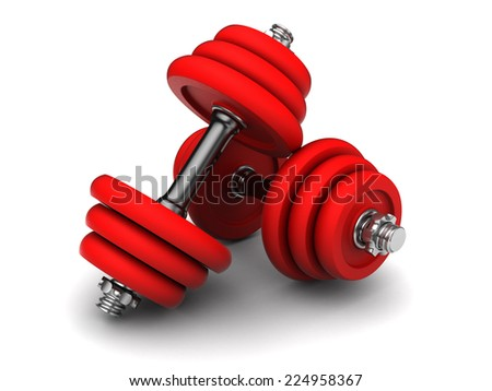 3d illustration of two red dumbells over white background - stock photo