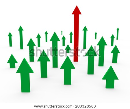 3d illustration of unique red winning arrow. Concept of success, leadership, uniqueness, competition, teamwork. - stock photo