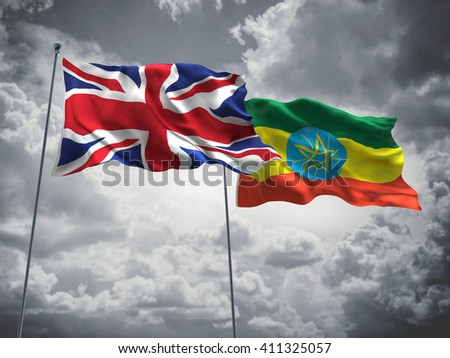 3D illustration of United Kingdom & Ethiopia Flags are waving in the sky with dark clouds  - stock photo