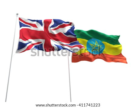 3D illustration of United Kingdom & Ethiopia Flags are waving on the isolated white background - stock photo