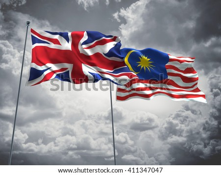 3D illustration of United Kingdom & Malaysia Flags are waving in the sky with dark clouds  - stock photo