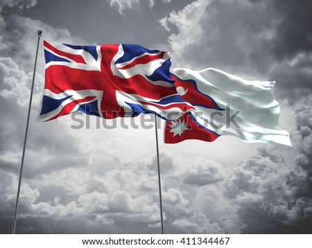 3D illustration of United Kingdom & Nepal Flags are waving in the sky with dark clouds  - stock photo
