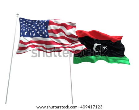 3D illustration of United States of America & Libya Flags are waving on the isolated white background - stock photo