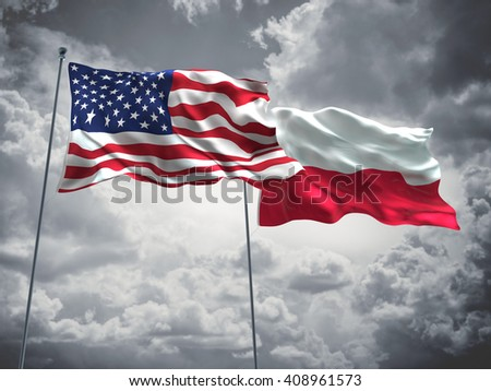 3D illustration of United States of America & Poland Flags are waving in the sky with dark clouds  - stock photo