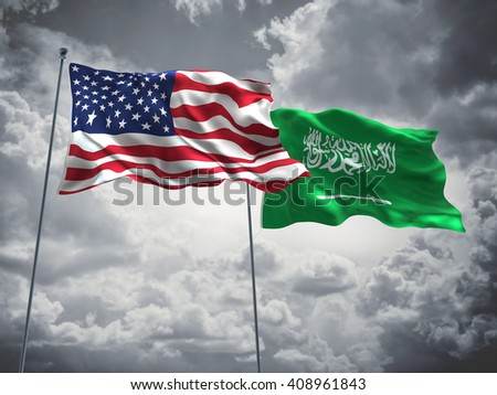 3D illustration of United States of America & Saudi Arabia Flags are waving in the sky with dark clouds  - stock photo