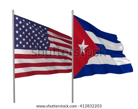 3d illustration of USA and Cuba flags waving in the wind / Flags of countries - stock photo
