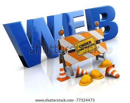 3d illustration of website under construction concept - stock photo