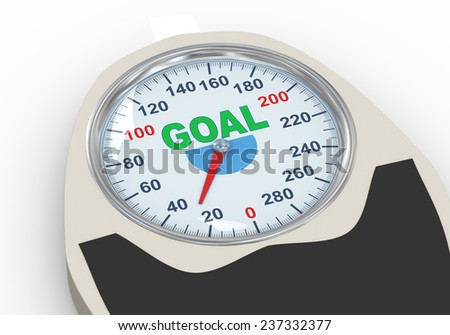 3d illustration of weight scale having word goal. Concept of dieting, exercise and weight loss. - stock photo