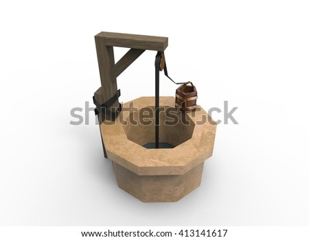 3d illustration of well. simple low polygonal triangles style. blue water. with bucket. isolated on white background with shadow. icon for game and web. - stock photo