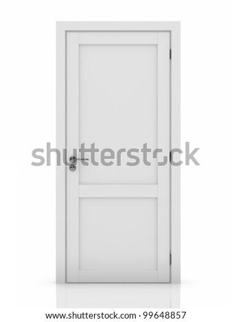 3d illustration of white door. Isolated on white background - stock photo