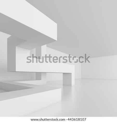 3d Illustration of White Modern Architecture Background. Abstract Building Blocks. Minimal Geometric Shapes Design - stock photo