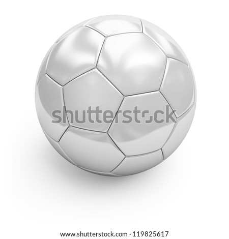 3d illustration of white soccerball. Isolated on white. - stock photo