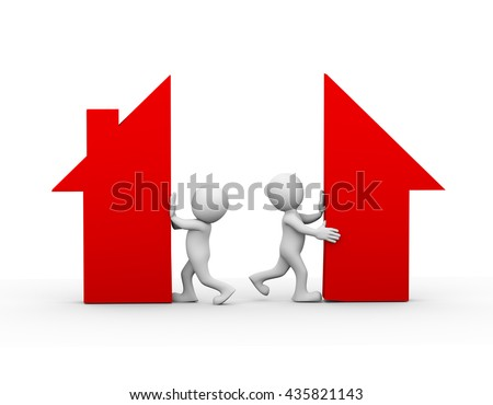 3d illustration of wife and husband separating home house symbol. family problem, people conflict and dispute - stock photo