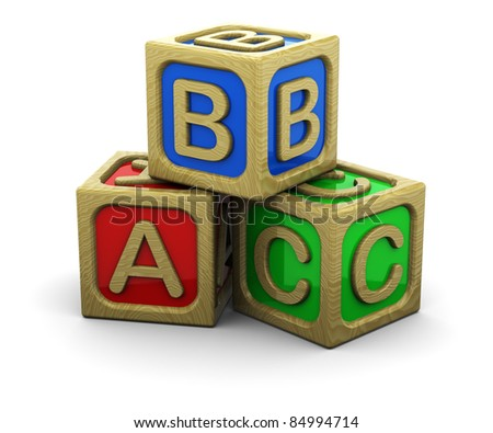 3d illustration of wooden cubes over white background - stock photo