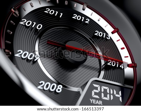 3d illustration of 2014 year car speedometer. Countdown concept - stock photo