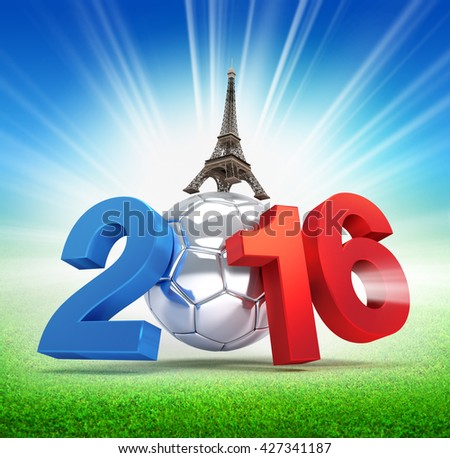 3D illustration of 2016 year, French flag colored with a silver soccer ball, illuminated on a grass field  - stock photo