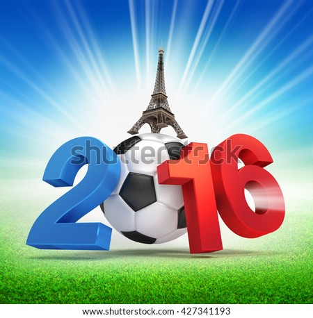 3D illustration of 2016 year, French flag colored with a soccer ball, illuminated on a grass field - stock photo