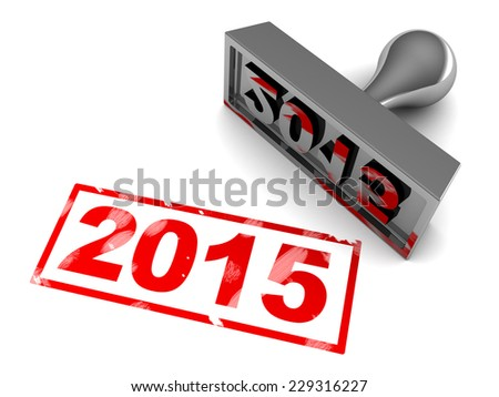 3d illustration of 2015 year stamp, over white background - stock photo
