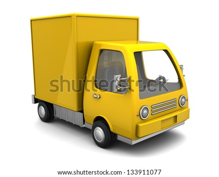 3d illustration of yellow delivery truck over white background - stock photo