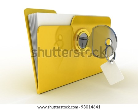3d illustration of yellow folder locked with key,isolated over white - stock photo