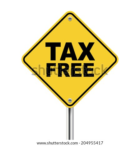 3d illustration of yellow road sign of tax free isolated on white background - stock photo