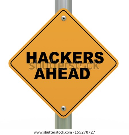 3d illustration of yellow roadsign of hackers ahead - stock photo