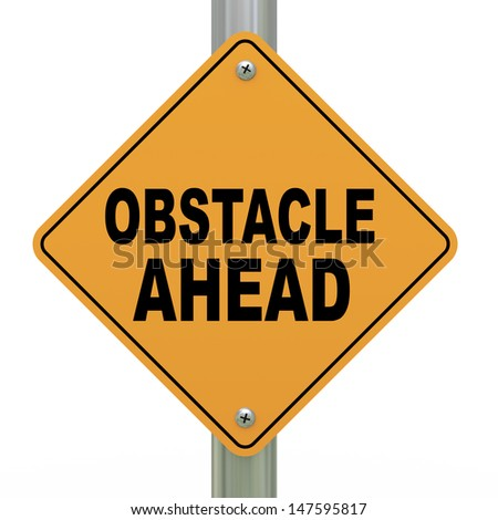 3d illustration of yellow roadsign of obstacle ahead - stock photo