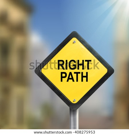 3d illustration of yellow roadsign of right path isolated on blurred street scene - stock photo