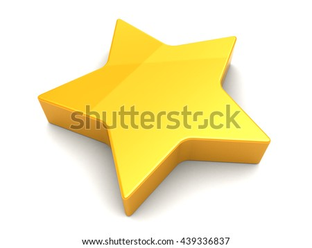 3d illustration of yellow star over white background - stock photo
