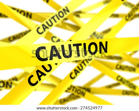 3d illustration of yellow tape with text caution - stock photo