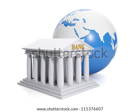3d illustration: Online bank. Internet banks worldwide - stock photo