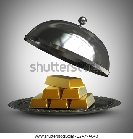 3d illustration. open empty metal silver platter with gold bars  High resolution 3d render - stock photo