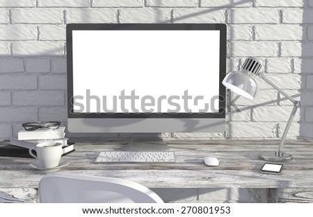 3D illustration PC screen on table  near brick wall, Workspace - stock photo